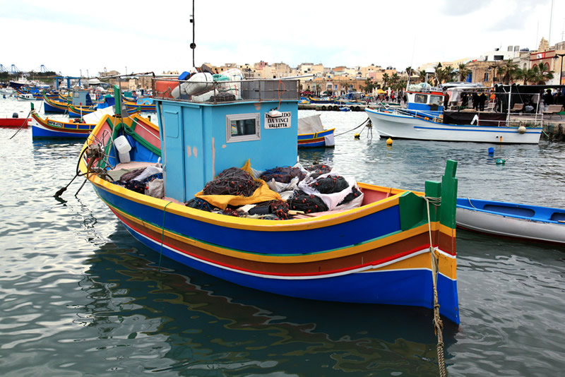 Fishing boat in a harbor on the island of Malta