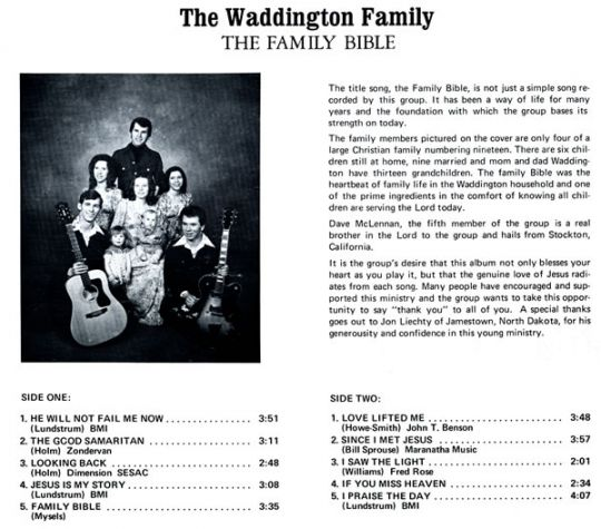 The Family Bible: The Waddington Family Backcover